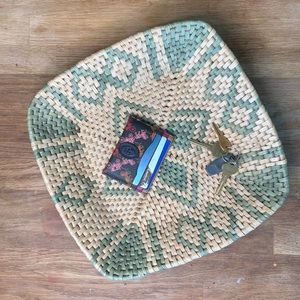 Square Woven Basket Corn Husk Straw Geometric